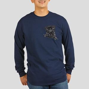 Black Pug Line Art Long Sleeve Dark T-Shirt