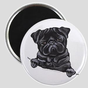 Black Pug Line Art Magnet