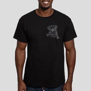 Black Pug Line Art Men's Fitted T-Shirt (dark)