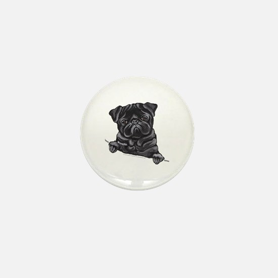 Black Pug Line Art Mini Button