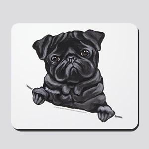Black Pug Line Art Mousepad