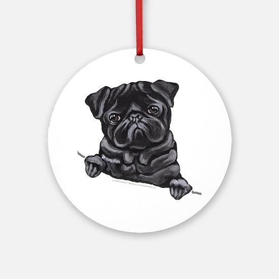 Black Pug Line Art Ornament (Round)