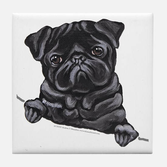 Black Pug Line Art Tile Coaster