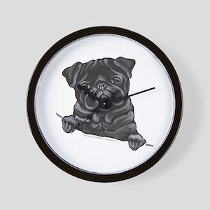 Black Pug Line Art Wall Clock