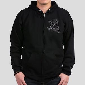 Black Pug Line Art Zip Hoodie (dark)