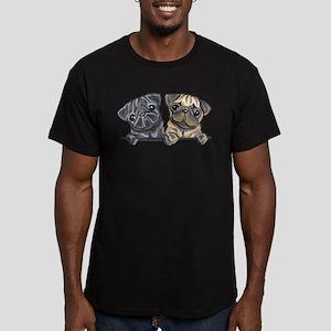 Pug Pals Men's Fitted T-Shirt (dark)