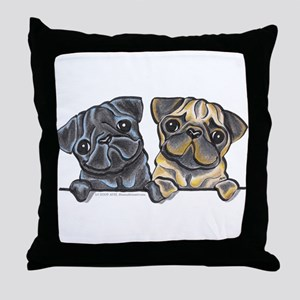 Pug Pals Throw Pillow