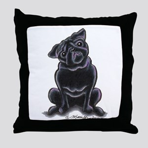 Black Pug Sit Pretty Throw Pillow