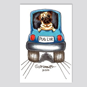 Pug Lover Car Postcards (Package of 8)