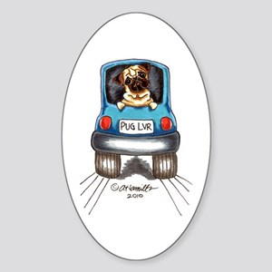 Pug Lover Car Sticker (Oval)