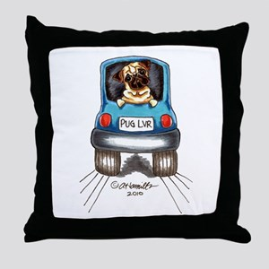 Pug Lover Car Throw Pillow