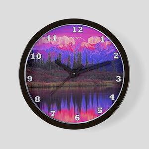 Wonder Lake at Sunset Wall Clock