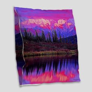 Wonder Lake at Sunset Burlap Throw Pillow
