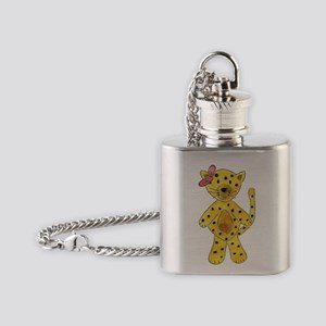 Cheetah Pink Bow Flask Necklace