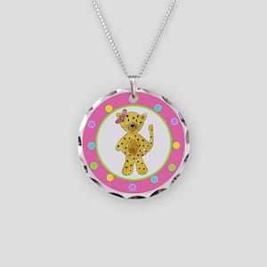 Cheetah Pink Bow Polka Dots Necklace Circle Charm