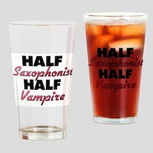 Half Saxophonist Half Vampire Drinking Glass