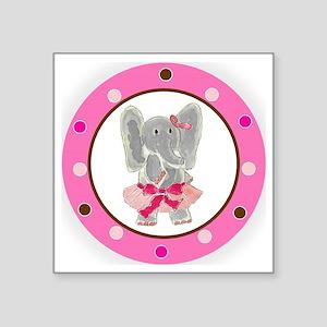 "Tutu Elephant Polka Dots Square Sticker 3"" x 3"""