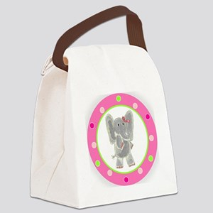 Elephant Pink Bow Polka Dots Canvas Lunch Bag