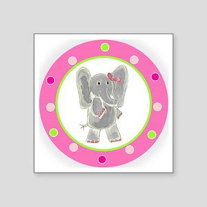 "Elephant Pink Bow Polka Dot Square Sticker 3"" x 3"""