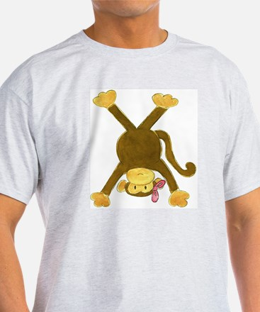 Tumbling Monkey Pink Bow Upside Down T-Shirt