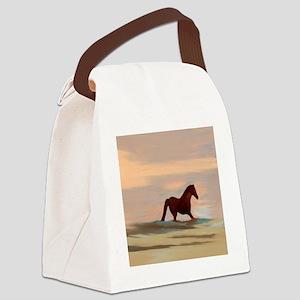 Horse On The Beach Canvas Lunch Bag