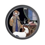 Deco Lady White Borzoi Clock