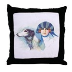Art Deco Flapper And Borzoi Throw Pillow