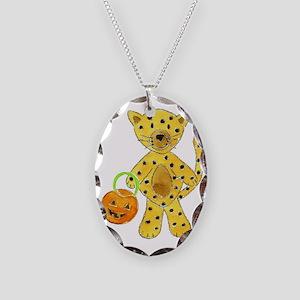 Halloween Cheetah Pumpkin Necklace Oval Charm