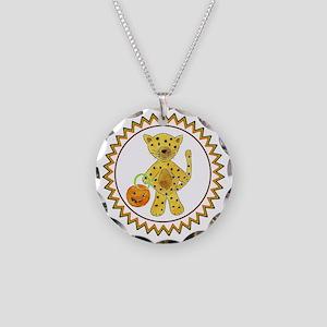 Halloween Cheetah Pumpkin Zi Necklace Circle Charm