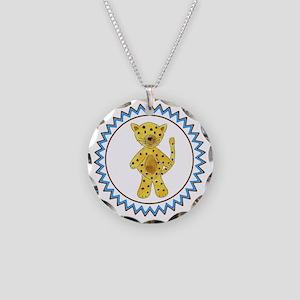 Cheetah Zig Zag Necklace Circle Charm