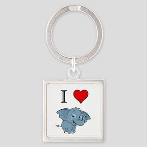 Elephant Square Keychain