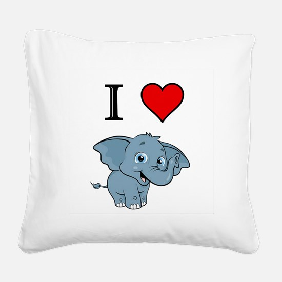 Elephant Square Canvas Pillow