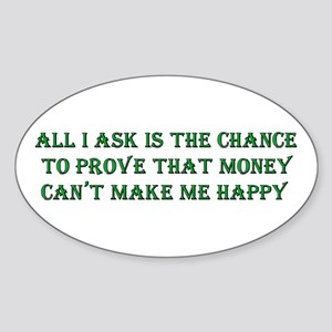Money and Happiness Oval Sticker