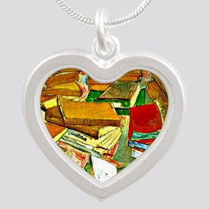 Van Gogh - Still Life French Silver Heart Necklace