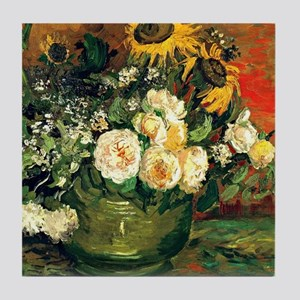 Van Gogh - Still Life with Roses and  Tile Coaster