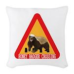 Honey Badger Crossing Sign Woven Throw Pillow