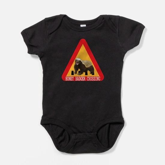Honey Badger Crossing Sign Baby Bodysuit