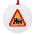Honey Badger Crossing Sign Round Ornament