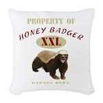 Property of Honey Badger Woven Throw Pillow
