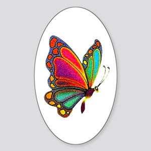 Rainbow Butterfly Oval Sticker