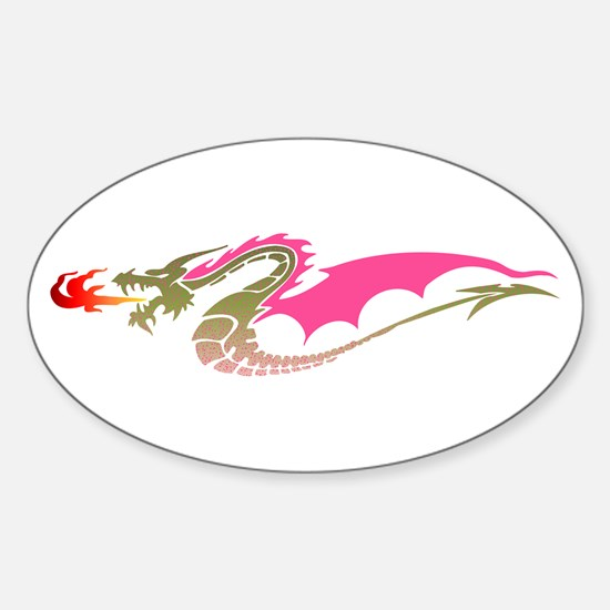 Pink Dragon Oval Decal