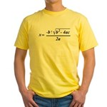 The Quadratic Formula Awesome Math Yellow T-Shirt