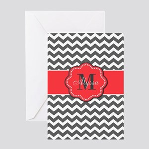 Gray and Coral Chevron Personalized Greeting Cards