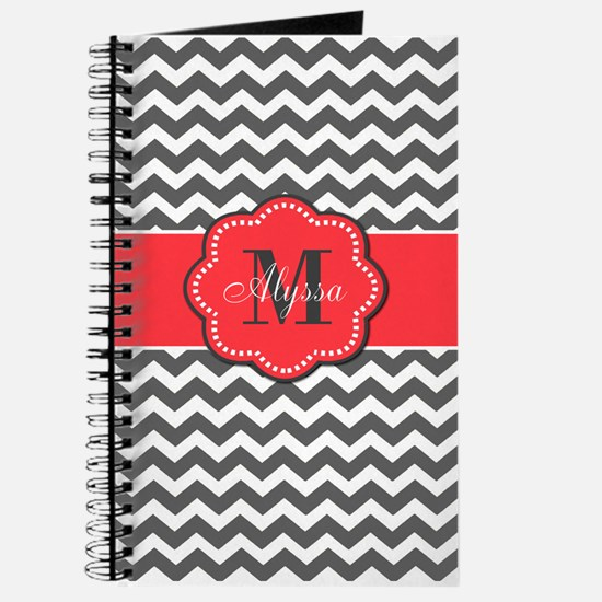 Gray and Coral Chevron Personalized Journal