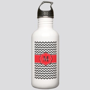 Gray and Coral Chevron Personalized Water Bottle