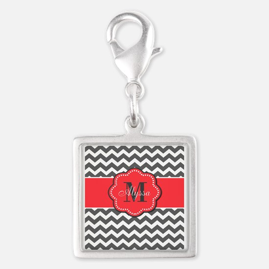 Gray and Coral Chevron Personalized Charms