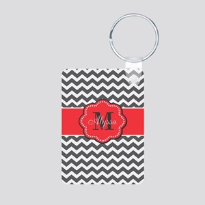 Gray and Coral Chevron Personalized Keychains
