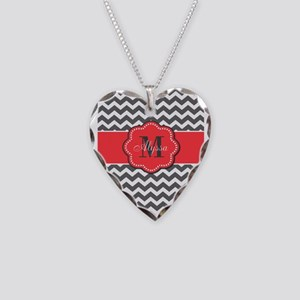 Gray and Coral Chevron Personalized Necklace