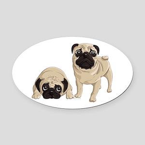 Pugs Oval Car Magnet