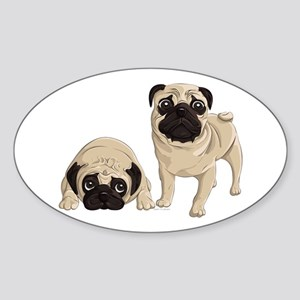 Pugs Sticker (Oval)